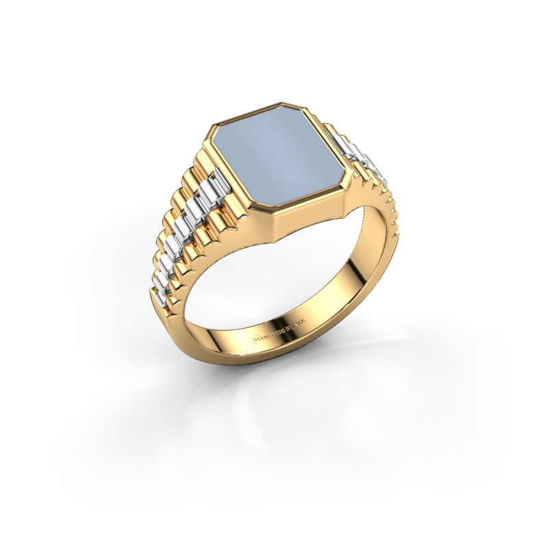 Zegelring Brent 1 585 goud licht blauwe lagensteen 10x8 mm