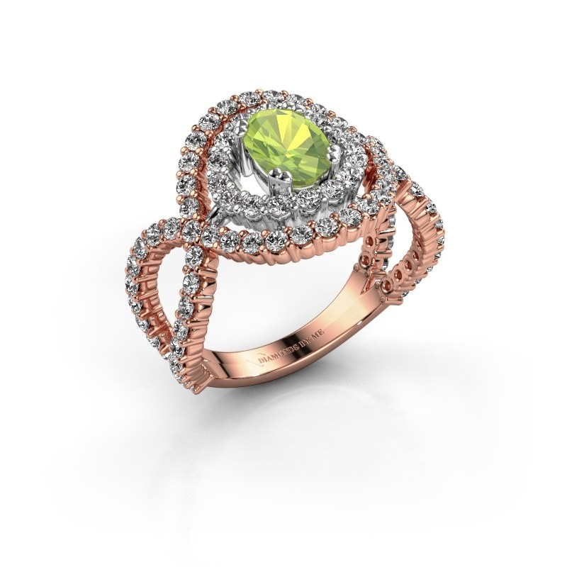 Ring Chau 585 rosé goud peridoot 7x5 mm