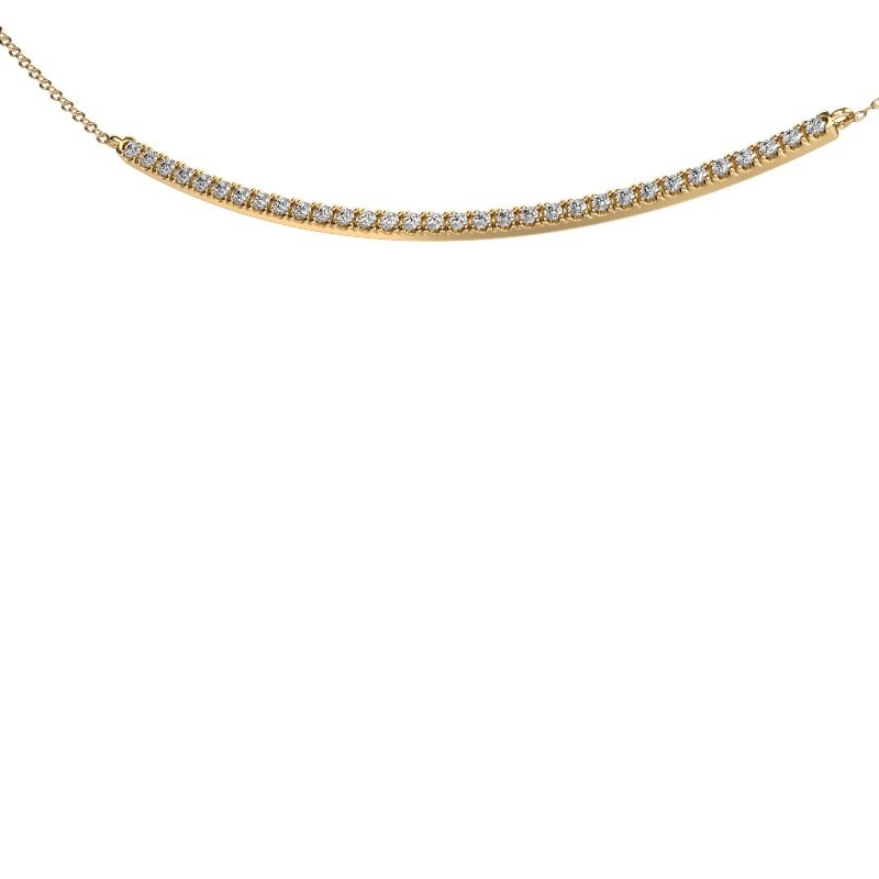 Bar ketting Simona 375 goud zirkonia 1.5 mm