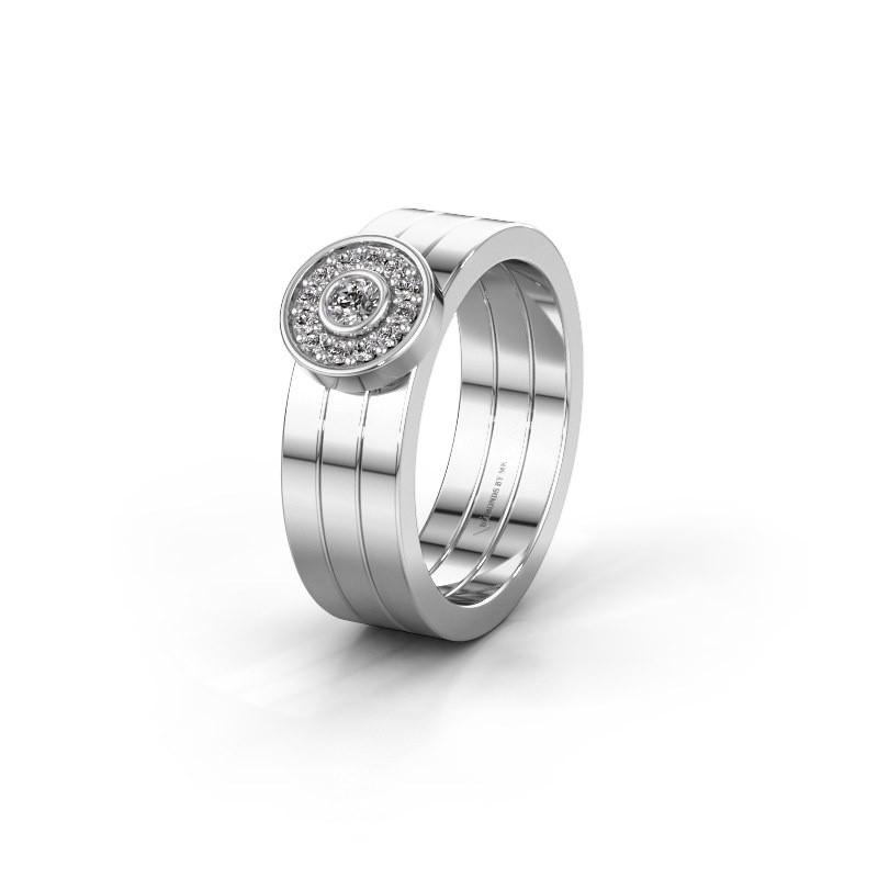 Trouwring WH2102L 950 platina diamant ±6x1.8 mm