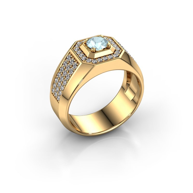 Heren ring Pavan 375 goud aquamarijn 5 mm