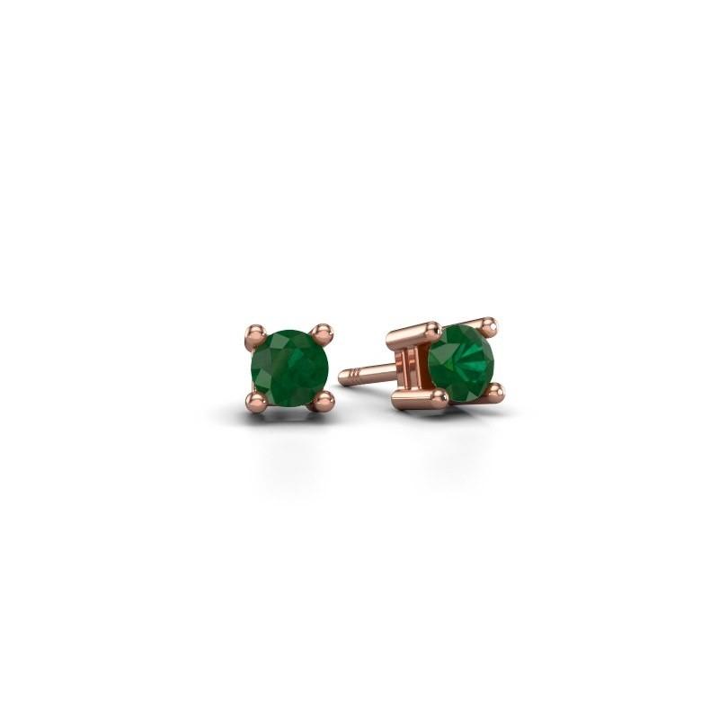 Oorknopjes Eline 375 rosé goud smaragd 4 mm
