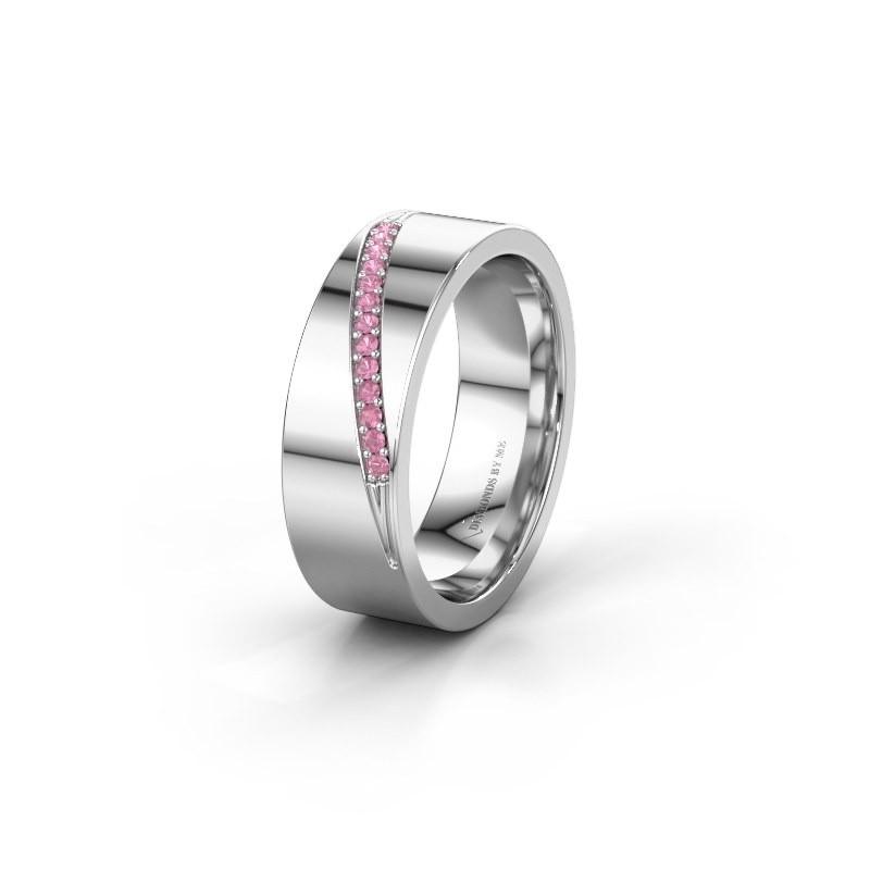Trouwring WH2146L17A 375 witgoud roze saffier ±7x1.7 mm