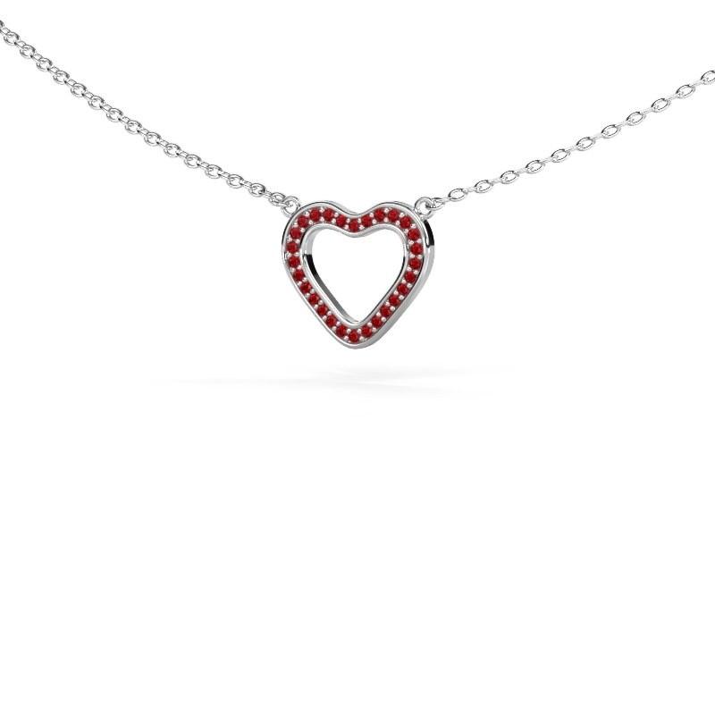 Anhänger Heart 3 925 Silber Rubin 0.8 mm