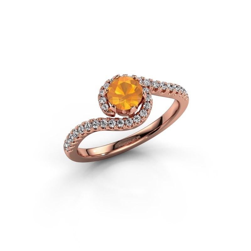 Engagement ring Elli 375 rose gold citrin 5 mm