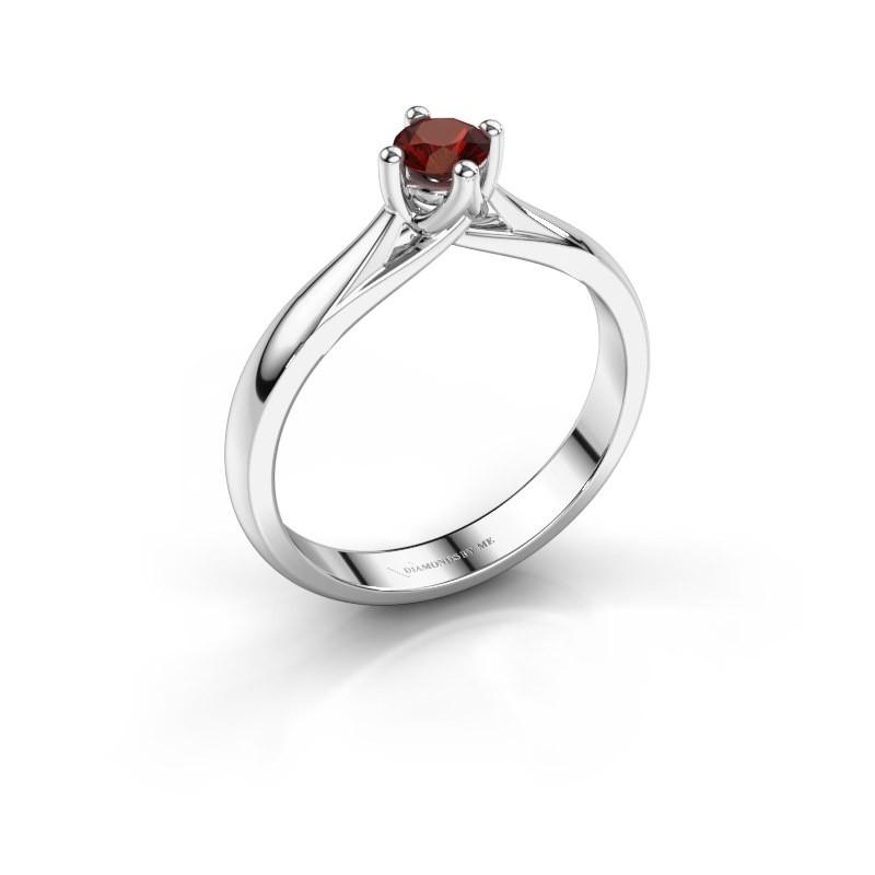 Engagement ring Janne 585 white gold garnet 4.2 mm