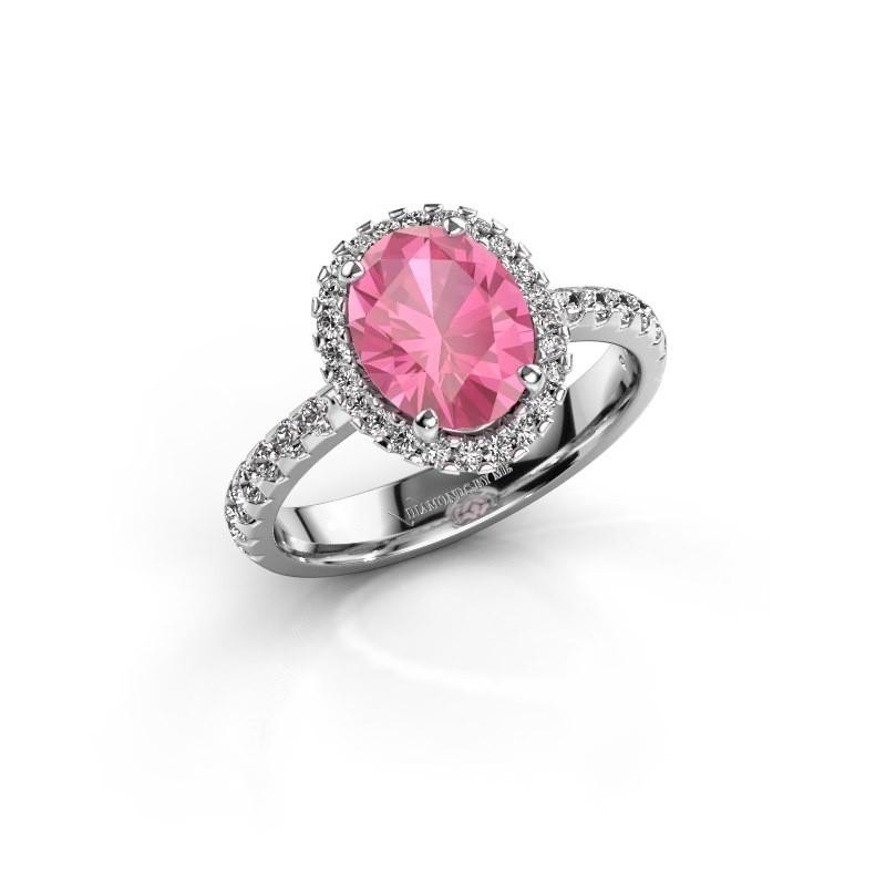 Verlovingsring Lavelle 950 platina roze saffier 9x7 mm