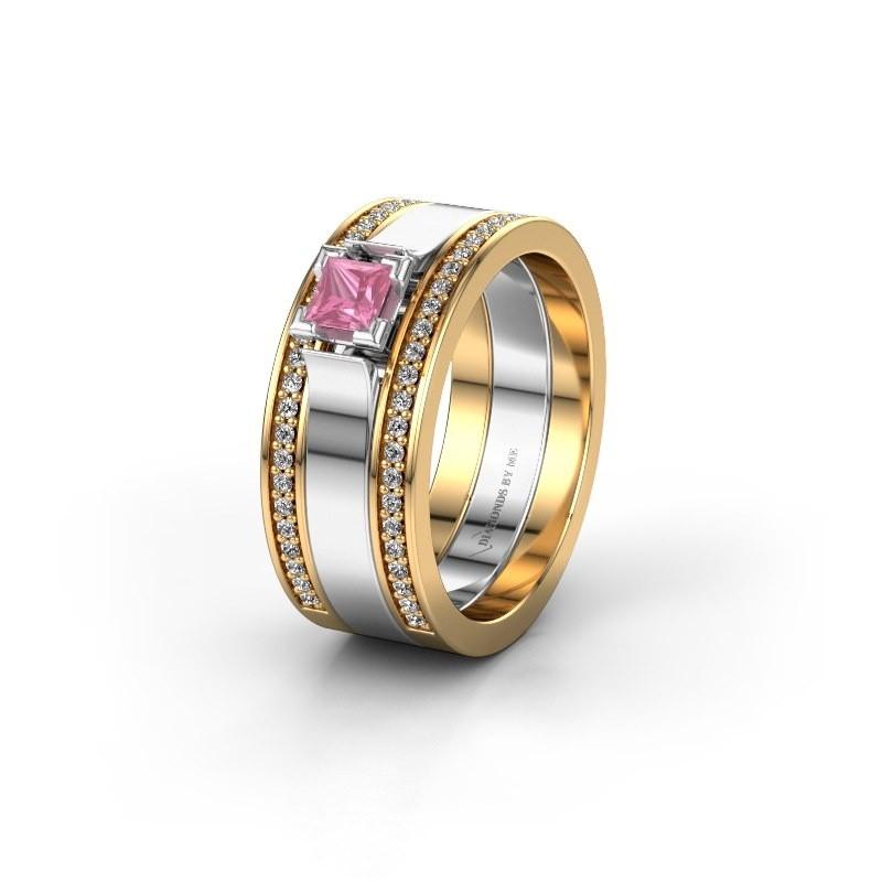 Trouwring WH2121L 585 goud roze saffier ±8x1.7 mm