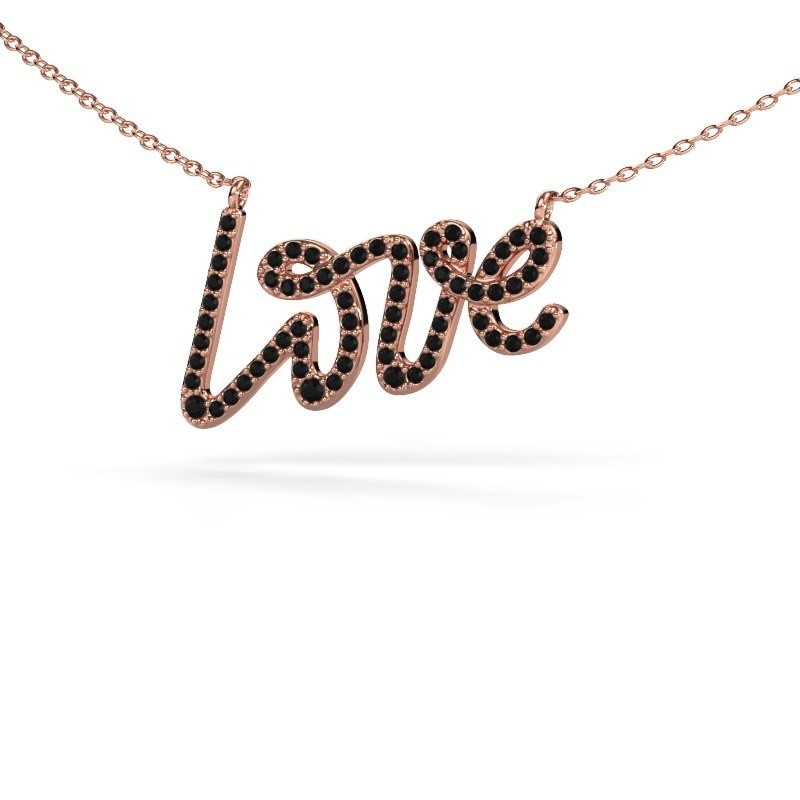 Pendentif Love 375 or rose diamant noir 0.428 crt