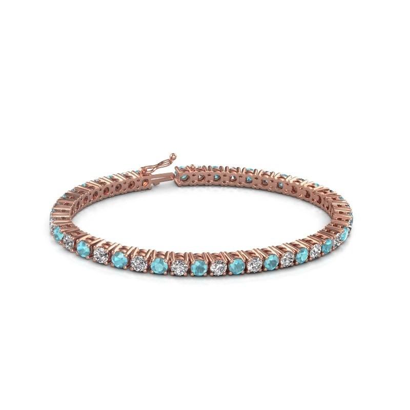 Tennis bracelet Karin 375 rose gold blue topaz 4 mm