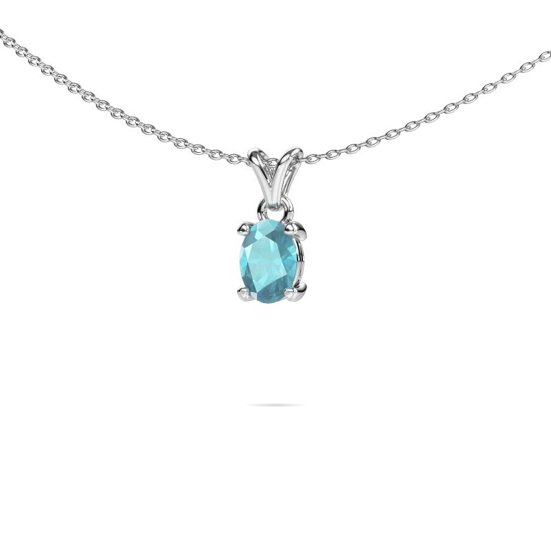 Ketting Lucy 1 925 zilver blauw topaas 7x5 mm
