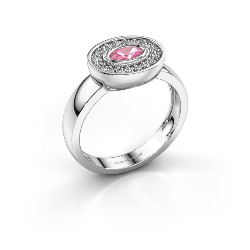 Ring Azra 925 silver pink sapphire 5x3 mm