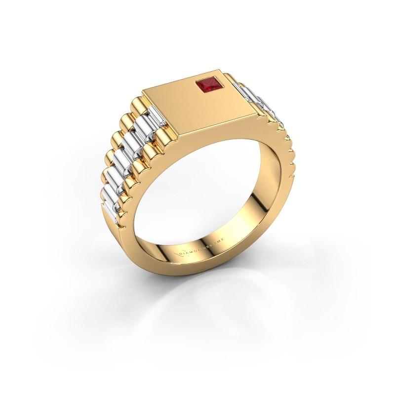 Heren ring Pelle 585 goud robijn 3 mm
