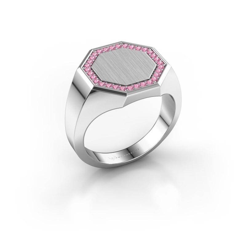 Men's ring Floris Octa 3 585 white gold pink sapphire 1.2 mm