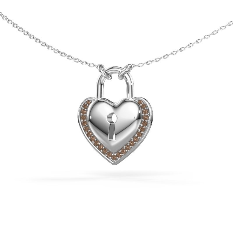 Collier Heartlock 925 argent diamant brun 0.115 crt