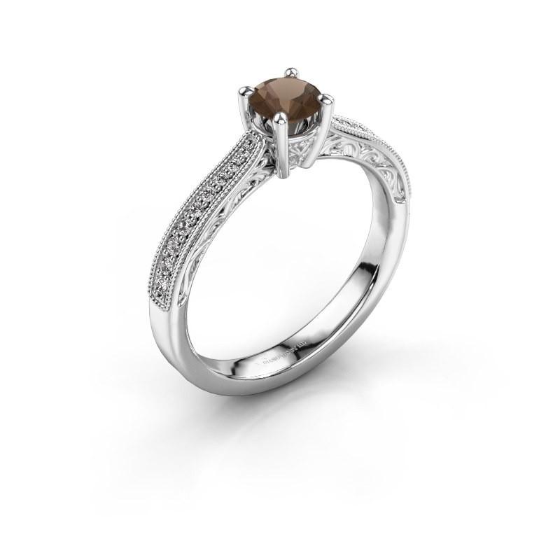 Belofte ring Shonta RND 950 platina rookkwarts 4.7 mm