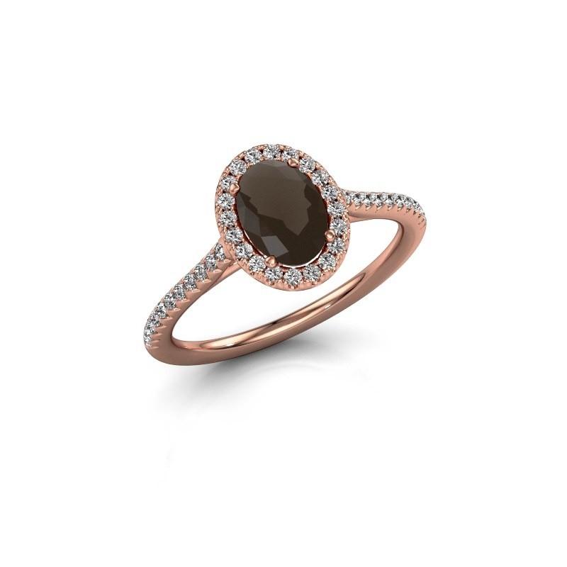 Engagement ring Seline 2 375 rose gold smokey quartz 7x5 mm