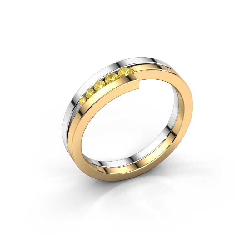 Ring Cato 585 white gold yellow sapphire 2.2 mm