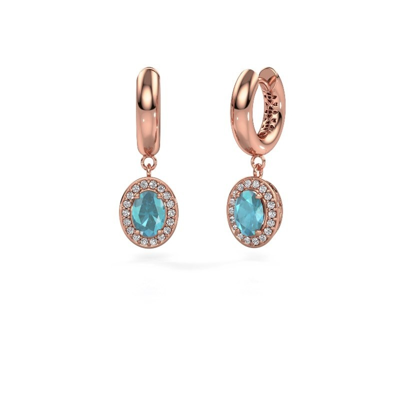 Drop earrings Annett 375 rose gold blue topaz 7x5 mm