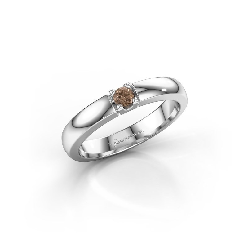 Engagement ring Rianne 1 585 white gold brown diamond 0.10 crt