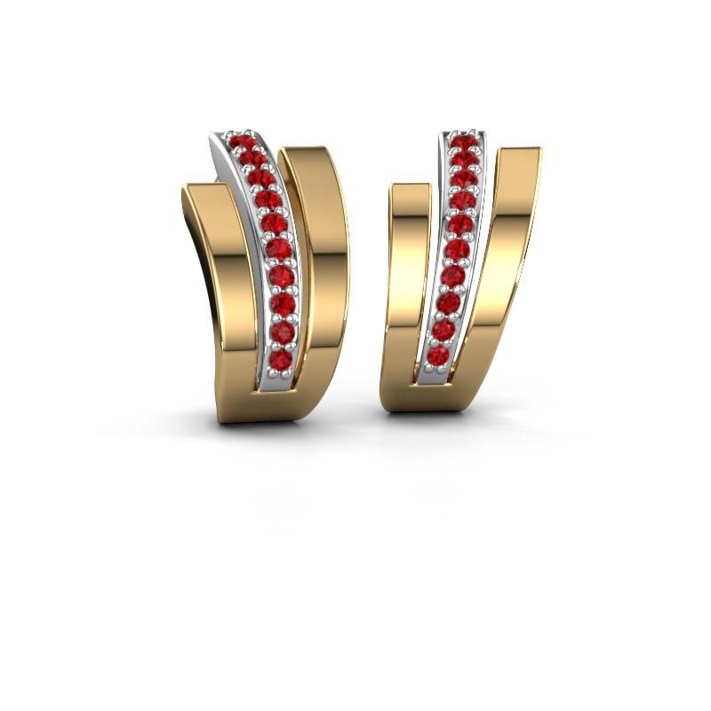 Earrings Emeline 585 white gold ruby 1.1 mm