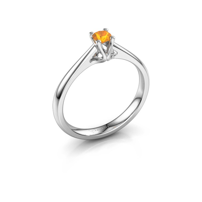 Verlobungsring Janna 1 585 Weißgold Citrin 3.4 mm