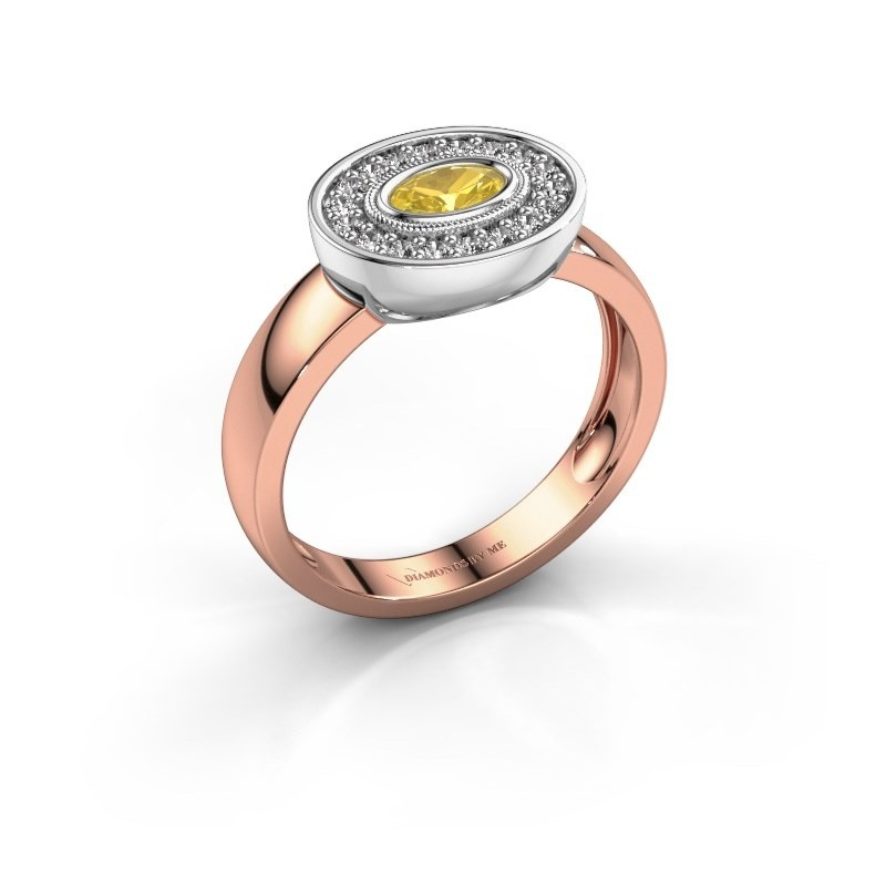 Ring Azra 585 rose gold yellow sapphire 5x3 mm