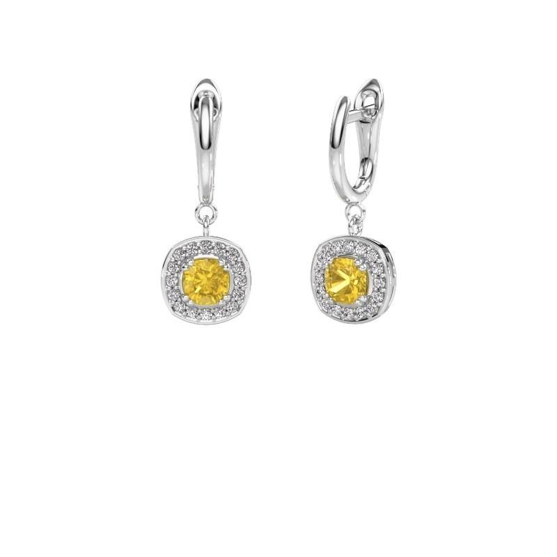 Drop earrings Marlotte 1 585 white gold yellow sapphire 5 mm