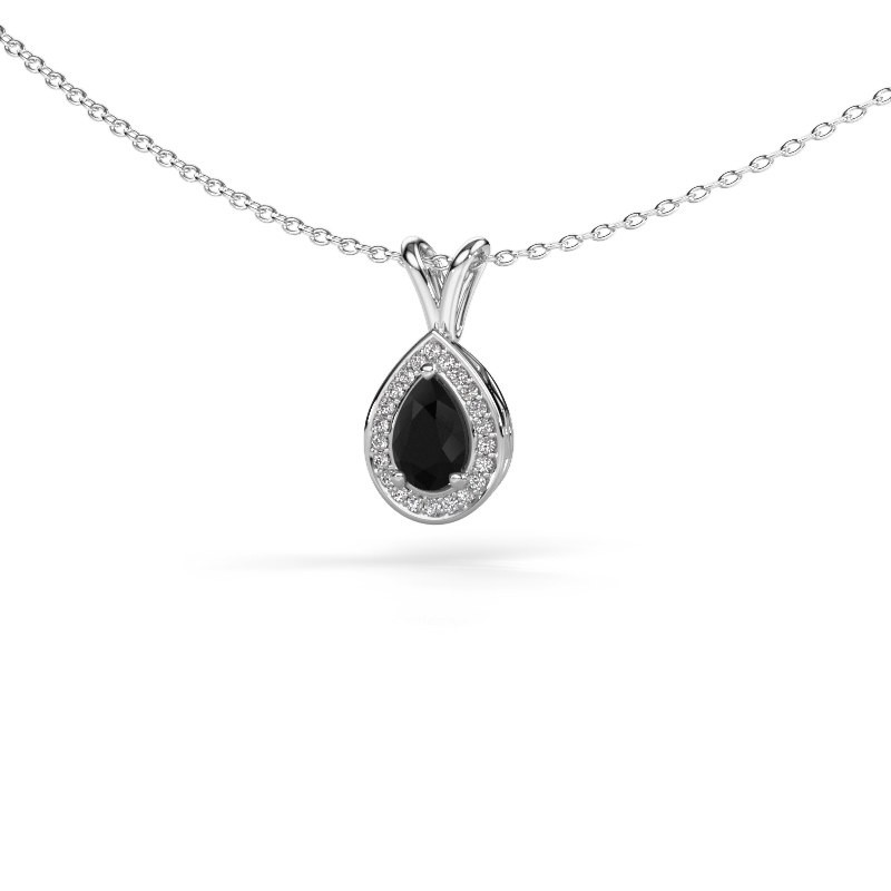 Ketting Ginger 585 witgoud zwarte diamant 0.595 crt