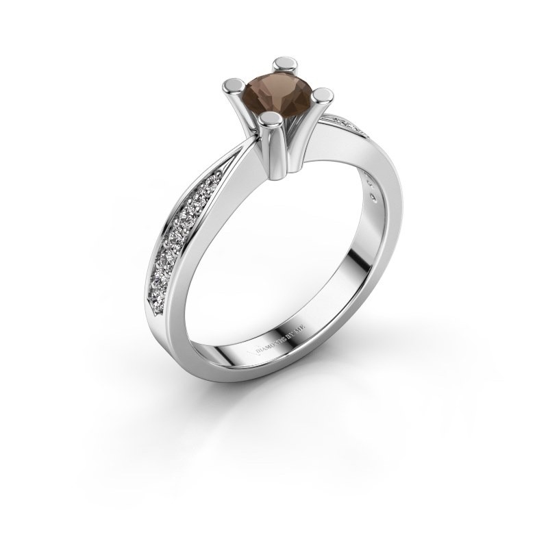Promise ring Ichelle 2 585 witgoud rookkwarts 4.7 mm