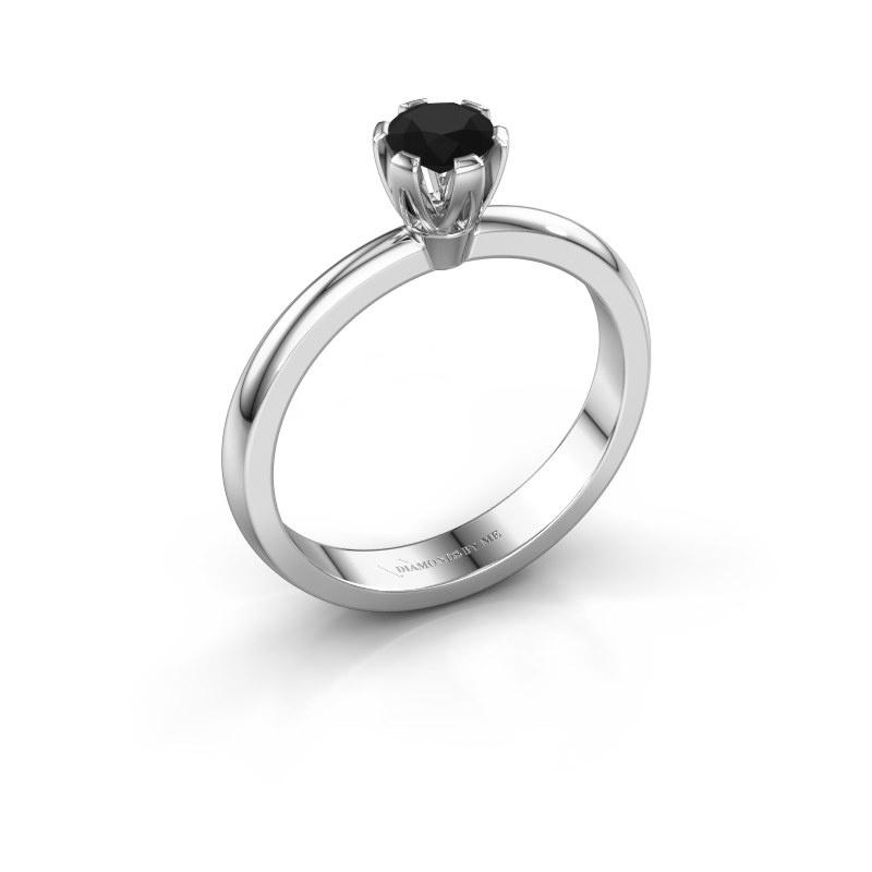 Verlovingsring Julia 585 witgoud zwarte diamant 0.30 crt
