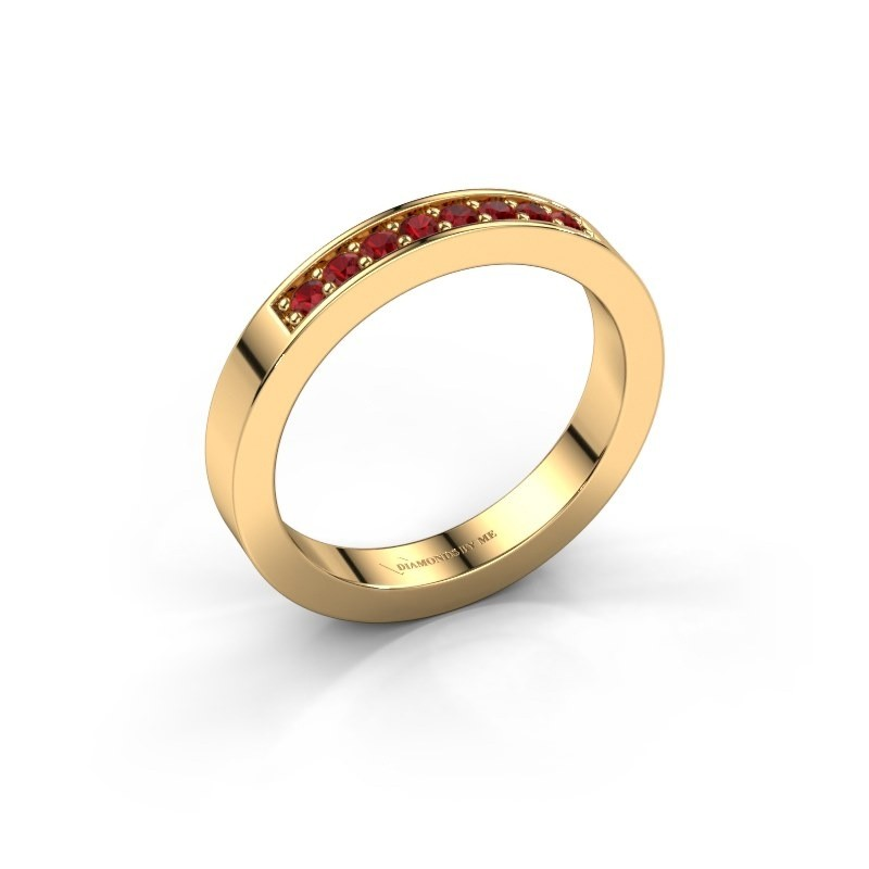 Stackable ring Loes 5 585 gold ruby 1.7 mm