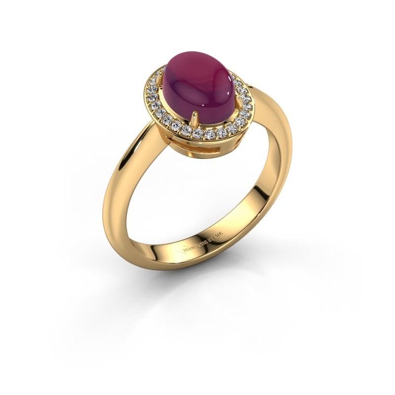 Ring Kristian 585 goud rhodoliet 8x6 mm