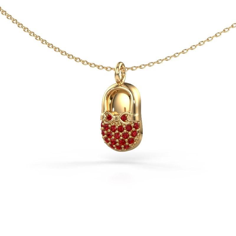 Hanger Babyshoe 585 goud robijn 1.3 mm