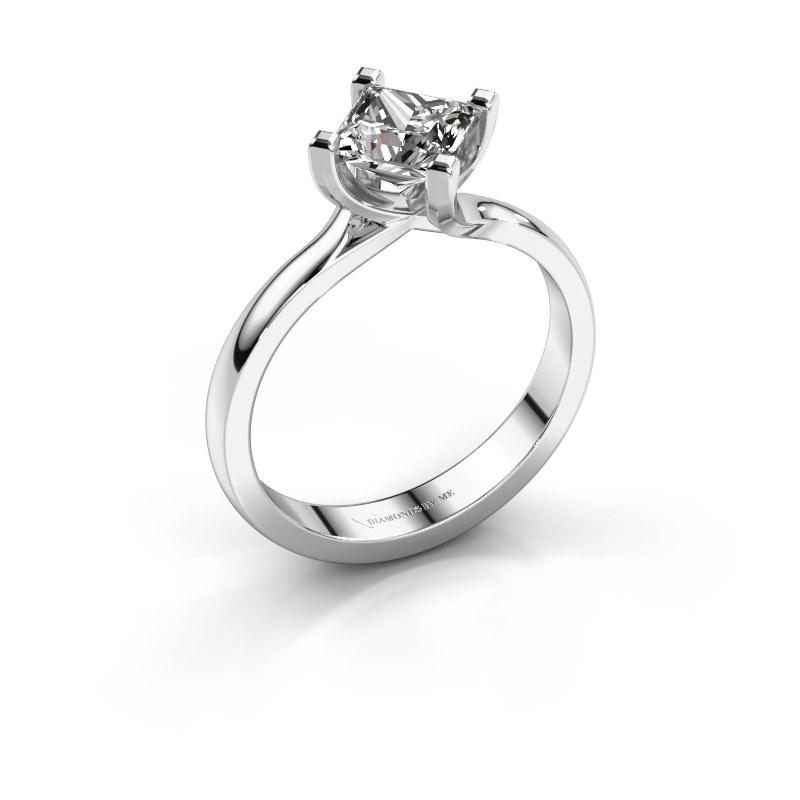 Engagement ring Dewi Square 950 platinum diamond 1.00 crt