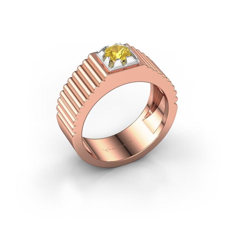 Pink ring Elias 585 rosé goud gele saffier 5 mm
