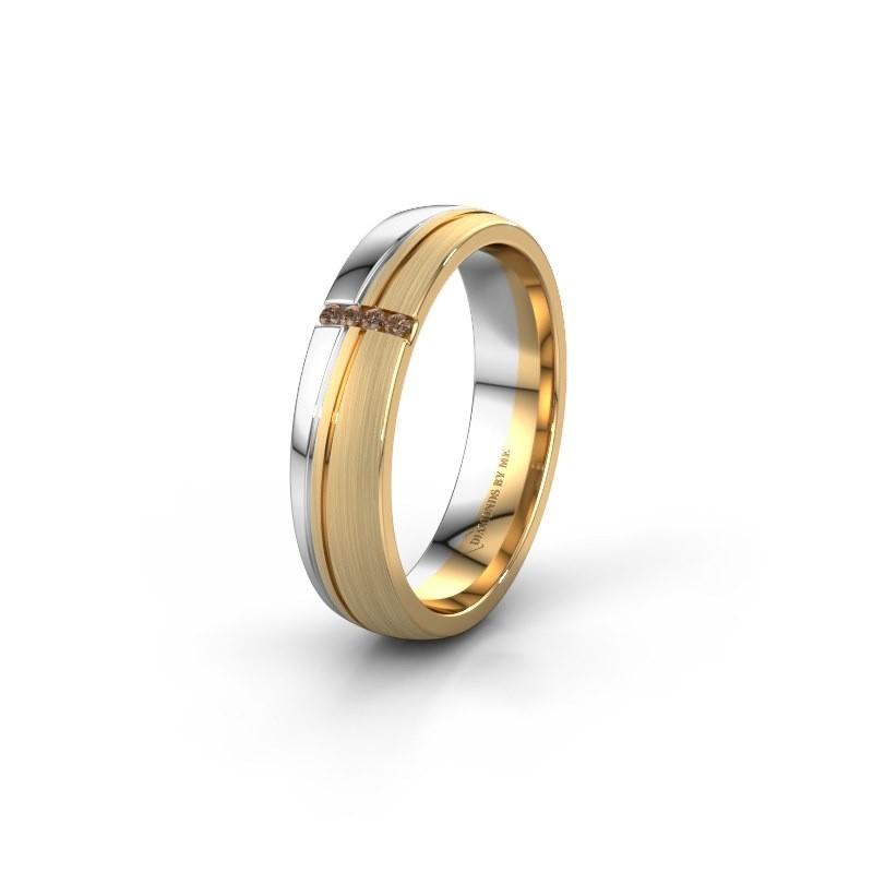 Weddings ring WH0909L25X 585 gold brown diamond ±5x1.5 mm