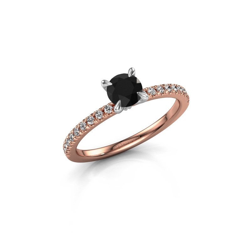 Verlovingsring Crystal rnd 2 585 rosé goud zwarte diamant 0.78 crt