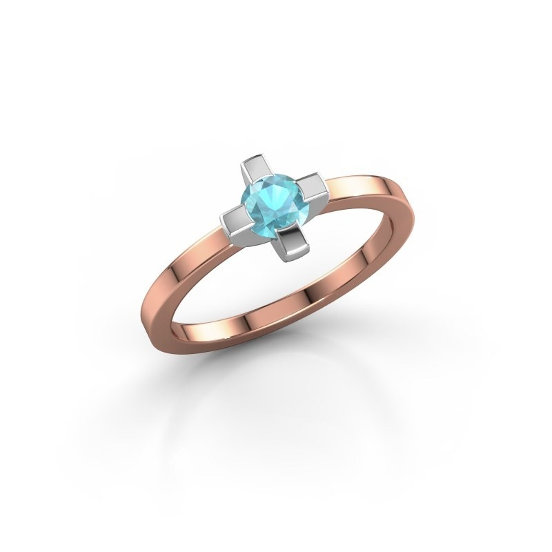 Ring Therese 585 rosé goud blauw topaas 4.2 mm