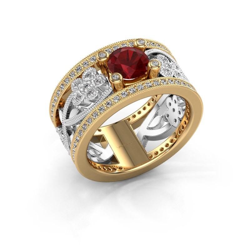 Ring Severine 585 goud robijn 6 mm