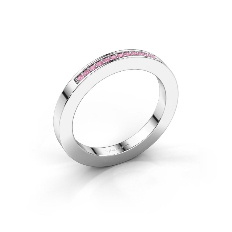 Stackable ring Loes 1 585 white gold pink sapphire 1.1 mm