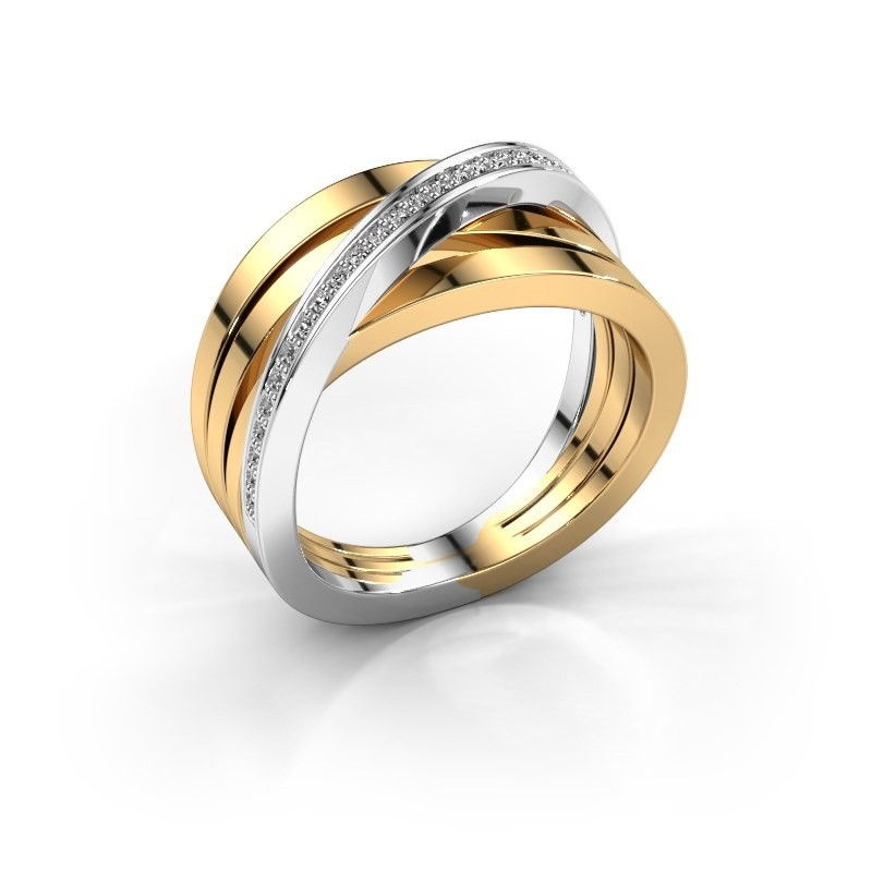 Betere Brede, meerdere banden gouden ring Esmee met zirkonia| Diamondsbyme BP-77