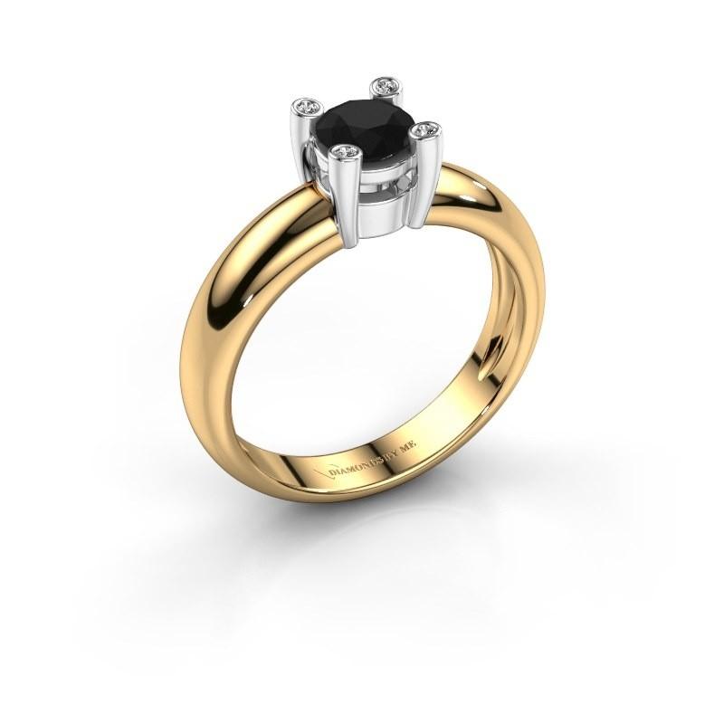 Ring Fleur 585 goud zwarte diamant 0.50 crt
