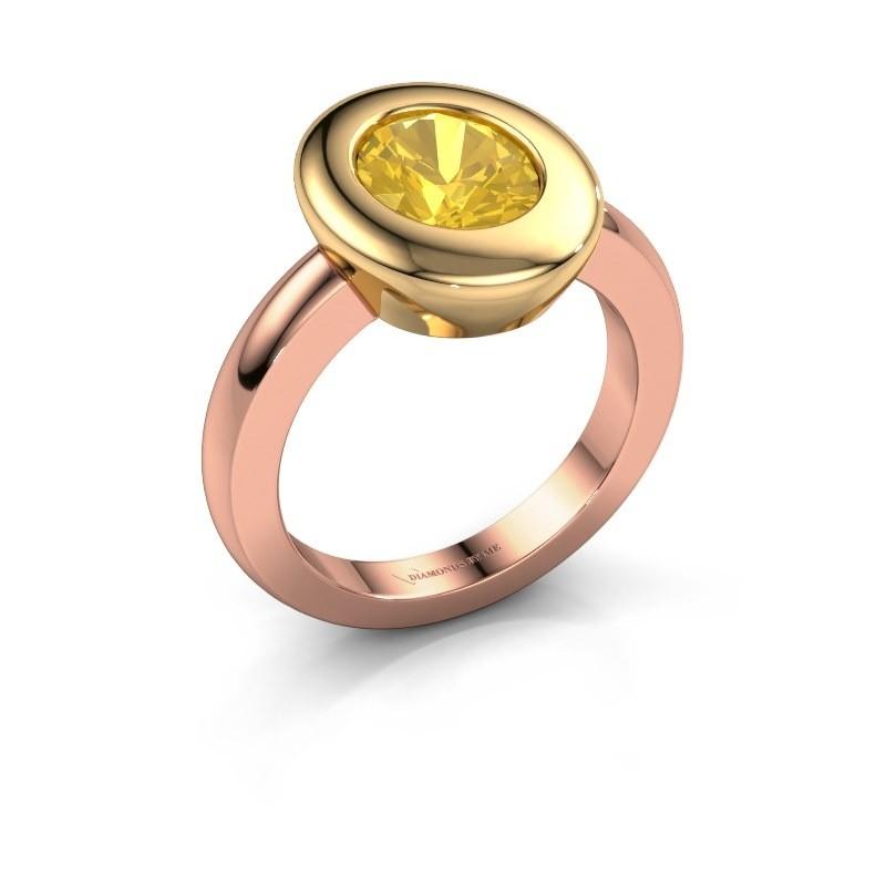 Ring Selene 1 585 rosé goud gele saffier 9x7 mm