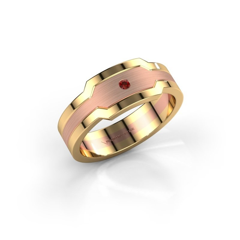 Men's ring Guido 585 rose gold garnet 2 mm