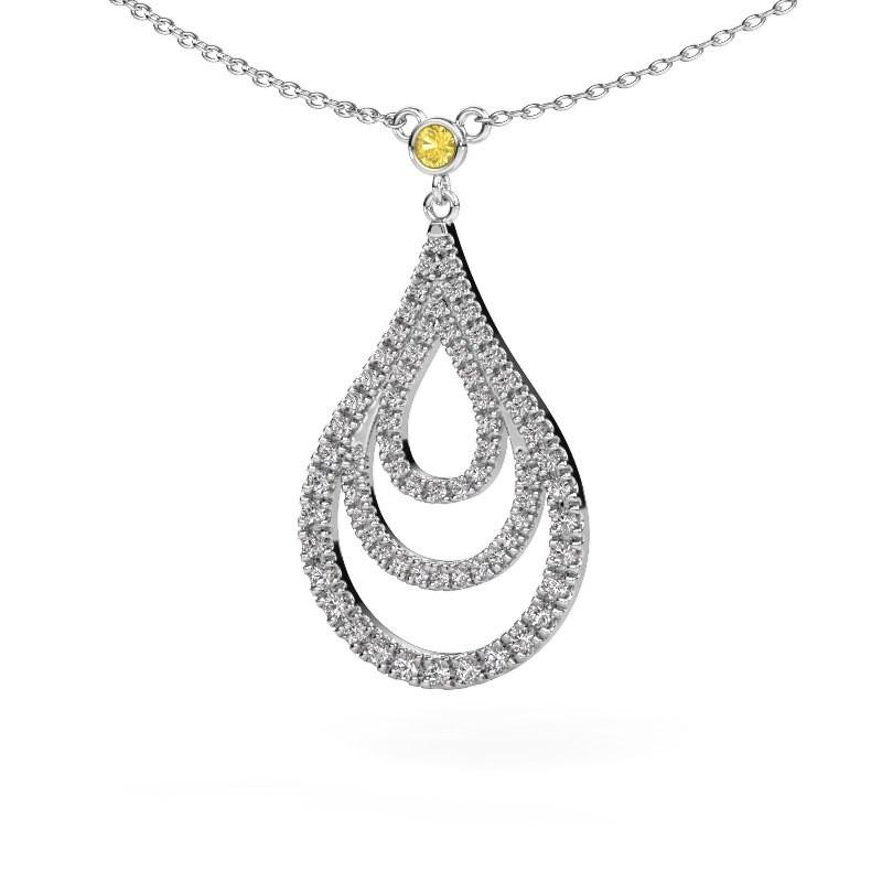 Hanger Delpha 925 zilver gele saffier 1.4 mm