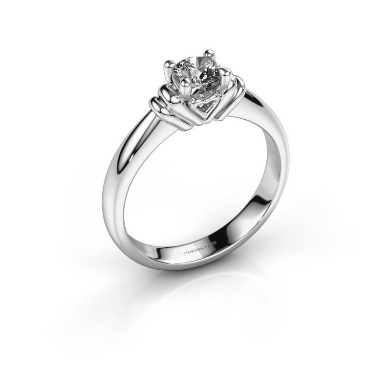 Verlovingsring Esmeralde 950 platina diamant 0.40 crt