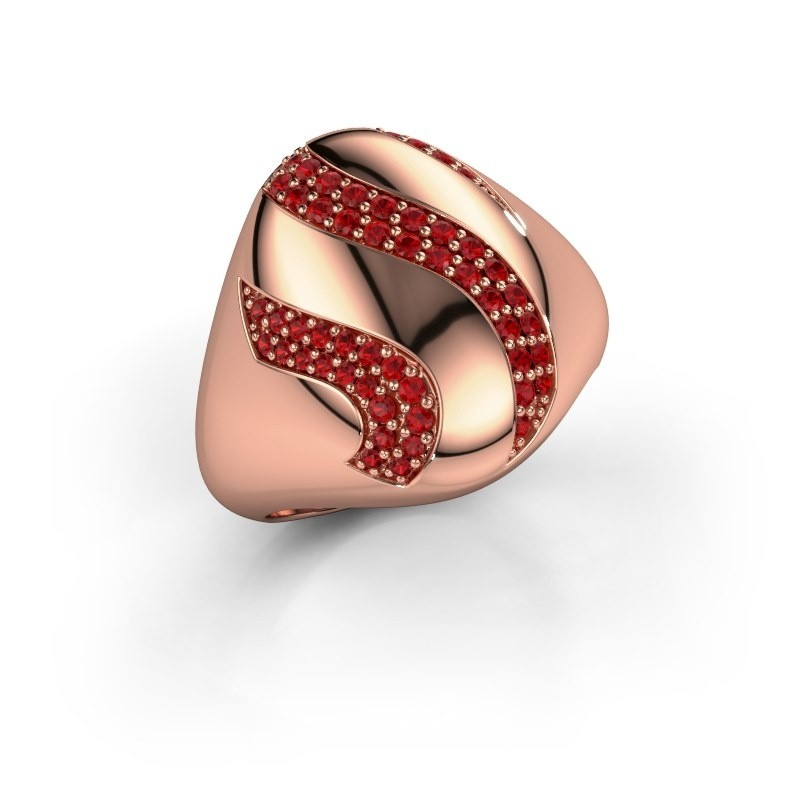 Ring Vilma 375 rosé goud robijn 1.2 mm