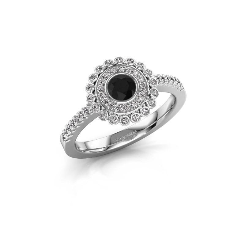 Engagement ring Shanelle 585 white gold black diamond 0.30 crt