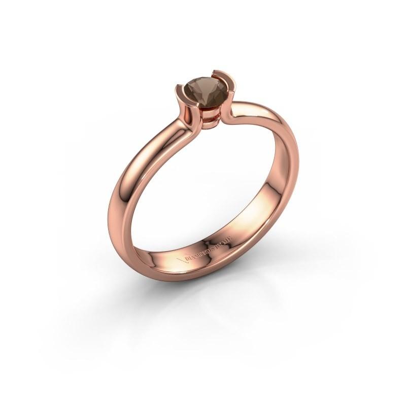 Engagement ring Ophelia 375 rose gold smokey quartz 4 mm
